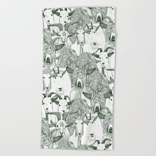 just goats dark green Beach Towel