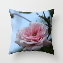 Pink Rose Flower on Branch Throw Pillow
