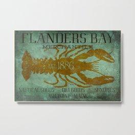 Flanders Bay Merchantile Sign with Lobster Metal Print