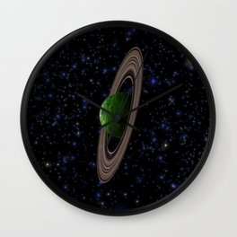 Green Ringed Gas Giant Wall Clock