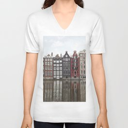 Buildings In Amsterdam City Picture   Dutch Canals Colorful Architecture Art Print   Europe Travel Photography Unisex V-Neck