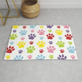 Colorful Paws, Dog Traces, Trails, Animal Paws Rug