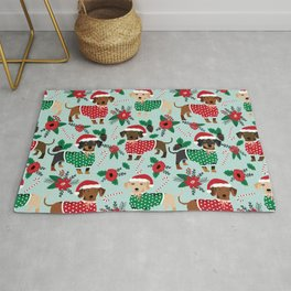 Dachshund christmas sweater poinsettia cute holiday gifts doxie dachsie dog breed Rug