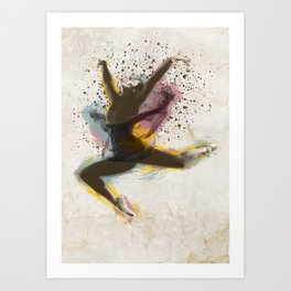 Ballerina dancing and expanding in color Art Print