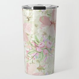 Hand painted ivory pink watercolor country chic floral Travel Mug