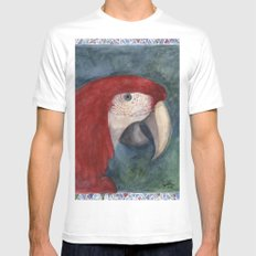 Red Macaw White MEDIUM Mens Fitted Tee