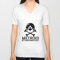metroid V-neck T-shirts featuring Metroid Exterminators by SlapJacktheMonkey