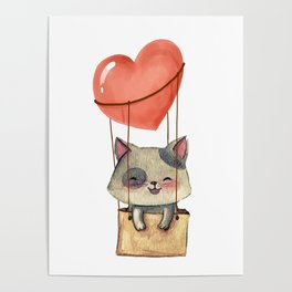 funny cute sweet kitten cat lovers hot air balloon of love present gift idea Poster