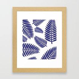 Blue Leaves Ferns Pattern Framed Art Print