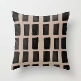 Brush Strokes Vertical Lines Black on Nude Throw Pillow