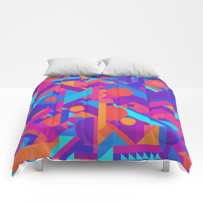 Geometry Shapes Pattern Print Warm Cool Color Scheme Comforters - Geometrical-shapes-on-bedding