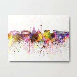 Stuttgart skyline in watercolor background Metal Print
