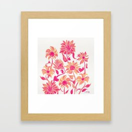 Sunflower Watercolor – Pink Palette Framed Art Print