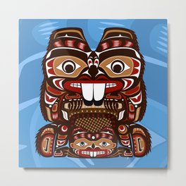 Beaver, Salish Seasons Metal Print