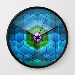 Contemporary abstract honeycomb, blue and green graphic grid with geometric shapes Wall Clock