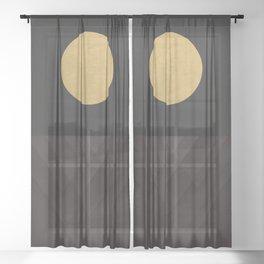 Moon Reflection on Quiet Ocean Sheer Curtain
