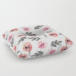 Pink flowers and black branches. Watercolor Floor Pillow