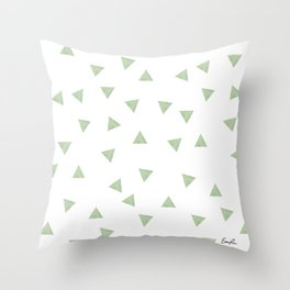 90's Green Watercolor Triangles Throw Pillow