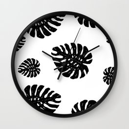Monstera pattern Wall Clock