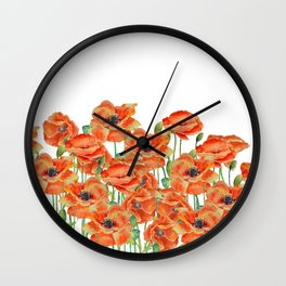 Watercolor poppy field illustration Wall Clock