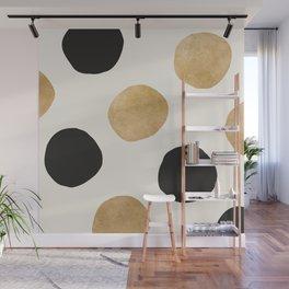 BLACK GOLD DOTS Wall Mural