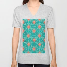 Dainty All Seeing Eye Pattern in Coral Unisex V-Neck