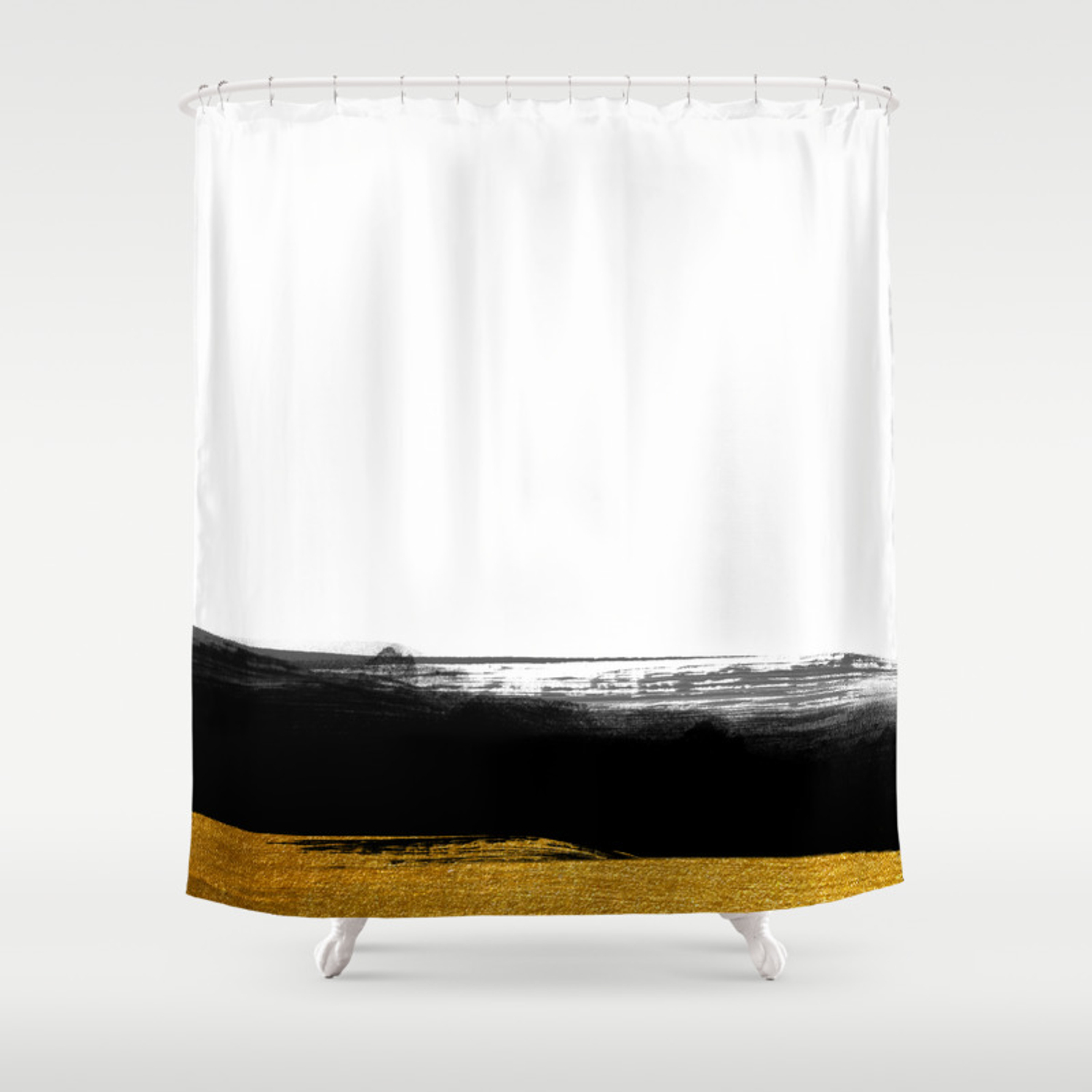 Black And Gold Grunge Stripes On Clear White Background Stripe Striped Shower Curtain