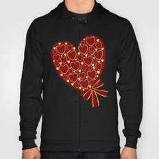 Gold hearts on rich red Hoody