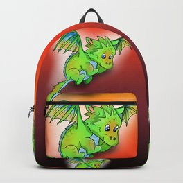 Happy green cartoon baby dragon with stars Backpack