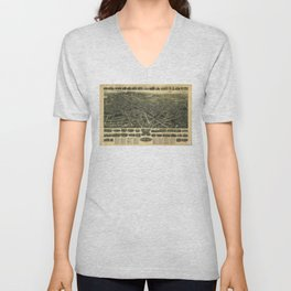 Aerial View of Meriden, Connecticut (1918) Unisex V-Neck