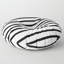 Simply Drawn Stripes in Midnight Black Floor Pillow