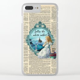 Follow The White Rabbit - Vintage Dictionary page Clear iPhone Case
