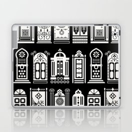 Moroccan Doors – White Ink on Black Laptop & iPad Skin