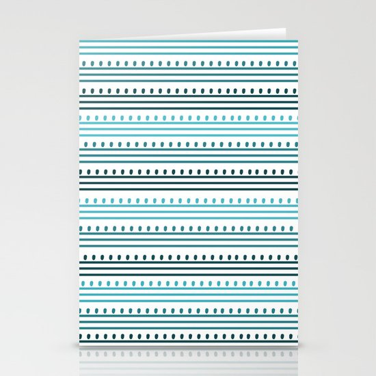 Aqua Lines and Dots Stationery Cards