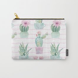 Simply Echeveria Cactus on Desert Rose Pink Wavy Lines Carry-All Pouch