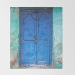 Blue Indian Door Throw Blanket