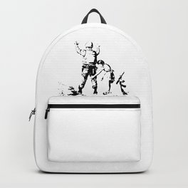 Stop and Search - Girl and a Soldier - Banksy Backpack
