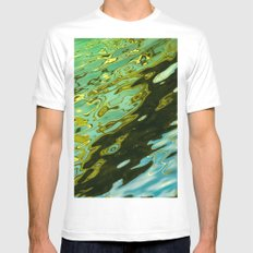 water reflection abstract White MEDIUM Mens Fitted Tee