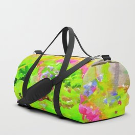 Abstract Spring Flowers Bleeding Hearts and Virginia Bluebells Duffle Bag