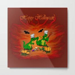 Today I will cook , Dragons - Happy Halloween ! Metal Print