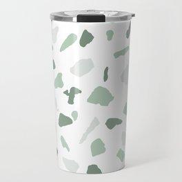 abstract terrazzo stone pattern sage green white Travel Mug