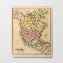 1867 Map of North America Metal Print