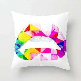 Labios geometricos Throw Pillow