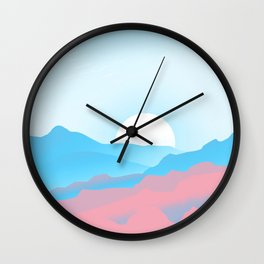Transgender Pride Sunrise over Mountains Wall Clock