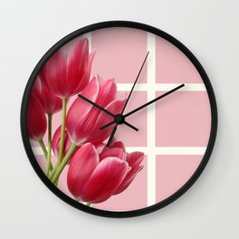 Beautiful Tulips & Pink Square Grid Wall Clock