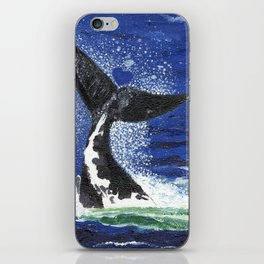 Southern Right Whale lobtailing in the ocean iPhone Skin