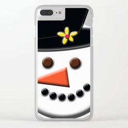 Snowman Head Digital Art Clear iPhone Case