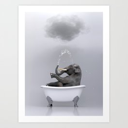elephant relaxing in the bath Art Print