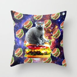 Hamburger Astro Cat On Burger Throw Pillow