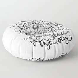 Trust and Obey - Hymn - BW Floor Pillow